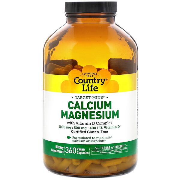 Calcium Magnesium with Vitamin D Complex, Gluten Free, 360 Vegan Capsules