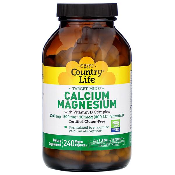 Country Life, Calcium Magnesium with Vitamin D Complex, 240 Vegan Capsules