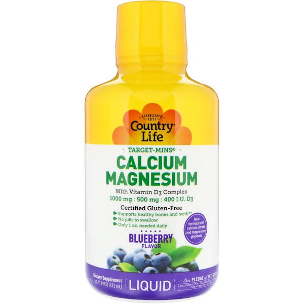 Country Life, Liquid Calcium Magnesium, Blueberry, 16 fl oz (472 ml)