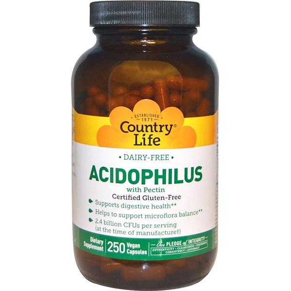 Country Life, Бактерии Acidophilus с пектином, 250 растительных капсул