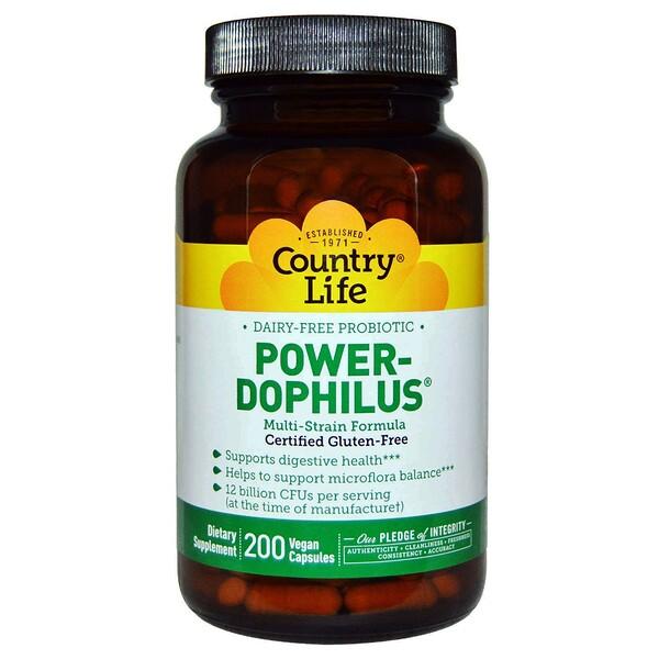Country Life, не содержит глютена, пробиотик Power-Dophilus, 200 веганских капсул