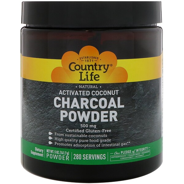 Natural Activated Coconut Charcoal Powder, 500 mg, 5 oz (141.7 g)