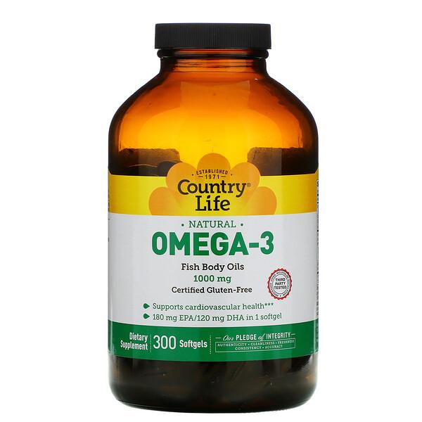 Омега-3, 1000 мг, 300 мягких желатиновых капсул