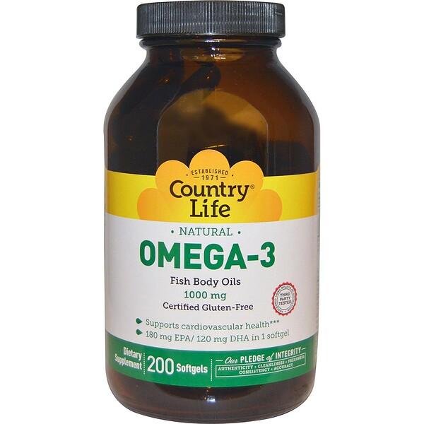 Омега-3, 1000 мг, 200 желатиновых капсул