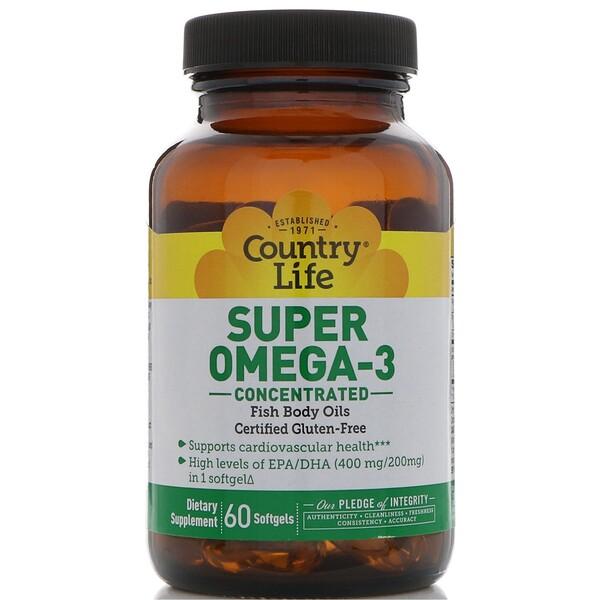 Супер омега-3, концентрированный препарат, 60 мягких желатиновых капсул