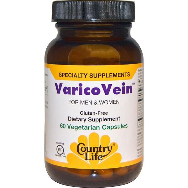 Country Life, VaricoVein, для мужчин и женщин, 60 растительных капсул