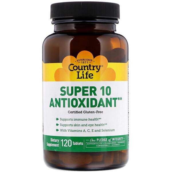 Country Life, Антиоксидант Super 10, 120 таблеток