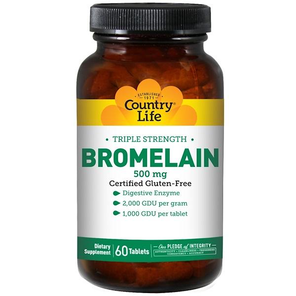 Country Life, Бромелайн, тройная сила, 500 мг, 60 таблеток (Discontinued Item)