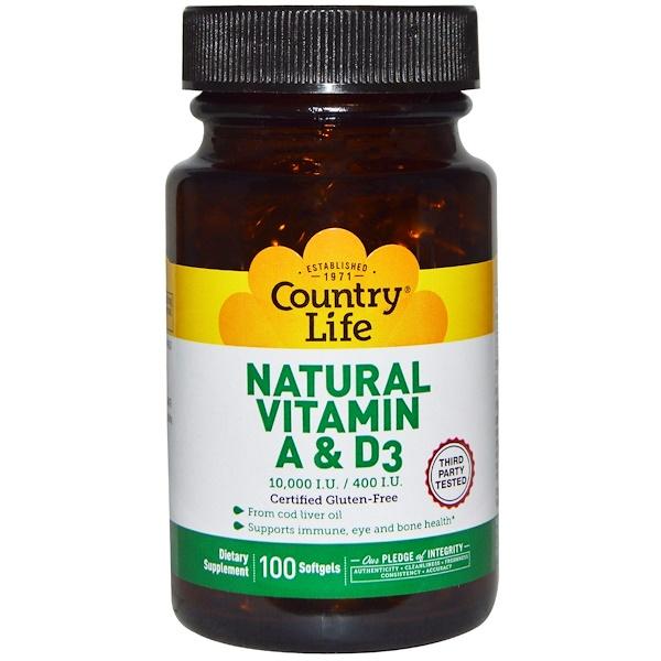 Country Life, Натуральные витамины A и D3, 10 000 МЕ/400 МЕ, 100 желатиновых капсул (Discontinued Item)