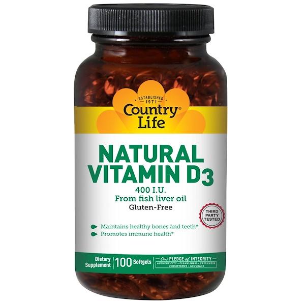 Country Life, Натуральный витамин D3, 400 МЕ, 100 капсул (Discontinued Item)