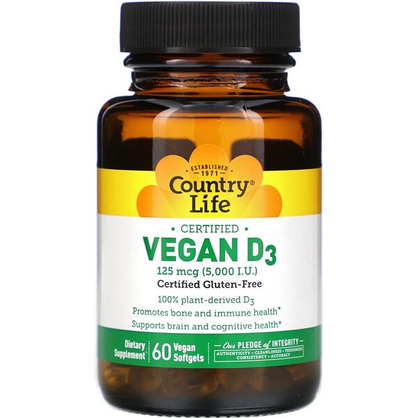 Vegan D3, 125 mcg (5,000 IU), 60 Vegan Softgels