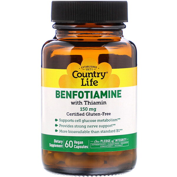 Country Life, Бенфотиамин, с коферментом B1, 150 мг, 60 растительных капсул