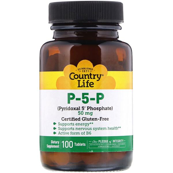 Country Life, П-5-Ф (пиридоксаль-5'-фосфат), 50 мг, 100 таблеток