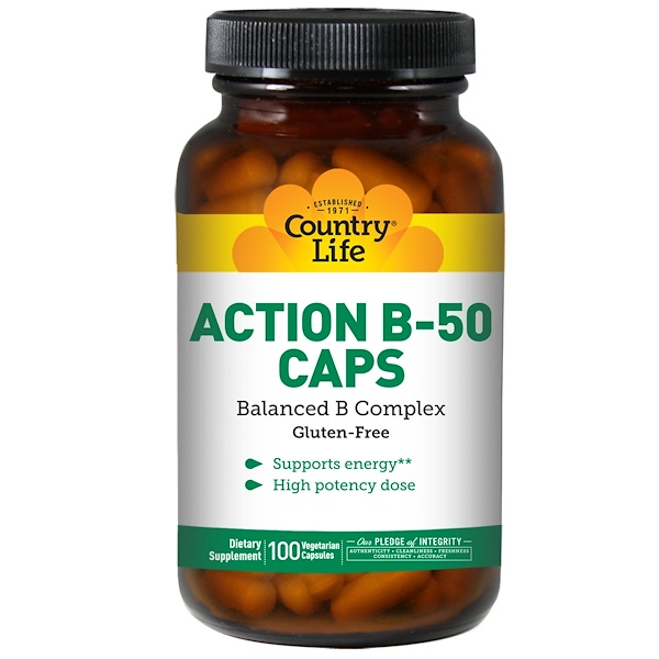 Country Life, Action B-50 Caps, 100 растительных капсул (Discontinued Item)