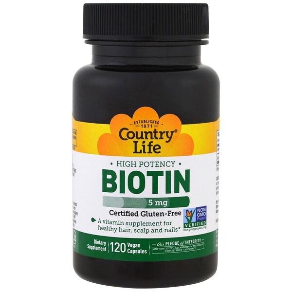 Высокоэффективный биотин, 5 мг, 120 веганских капсул