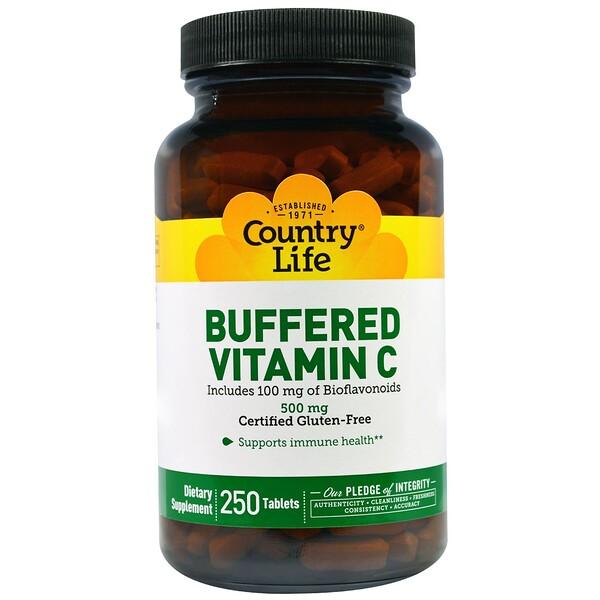 Country Life, Буферизованный витамин С, 500мг, 250 таблеток