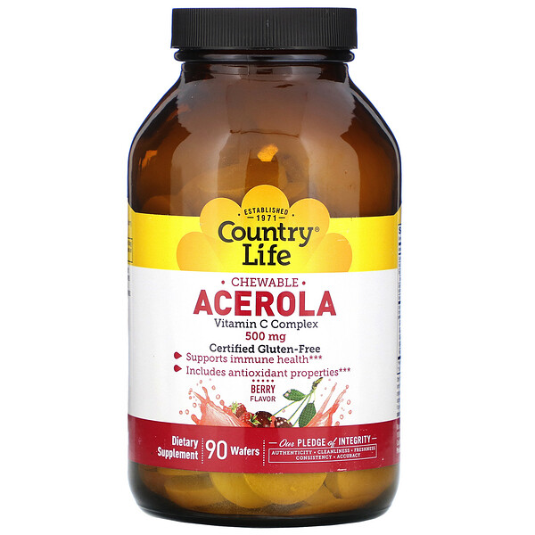 Chewable Acerola, Vitamin C Complex, Berry, 500 mg, 90 Wafers