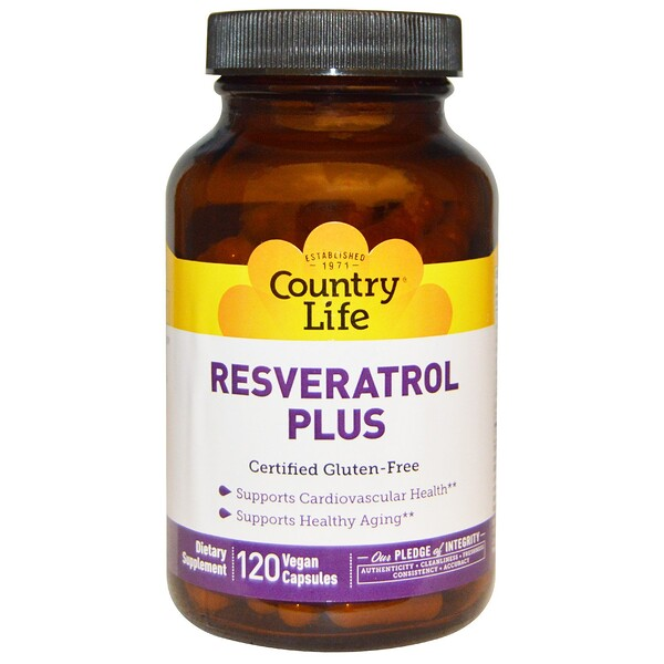Country Life, Добавка Resveratrol Plus, 120веганских капсул