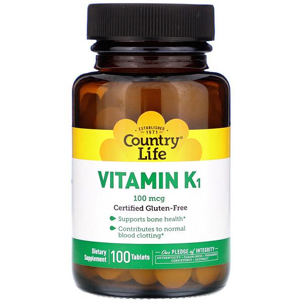 Country Life, Витамин К1, 100мкг, 100таблеток