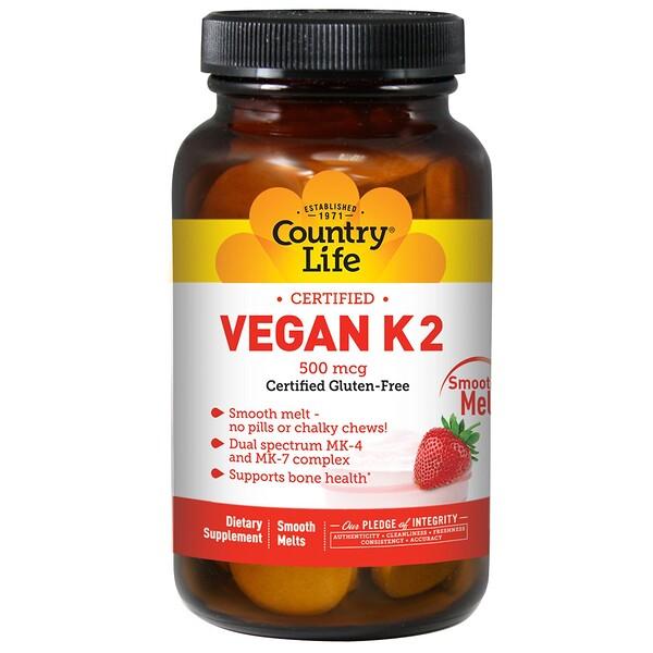 Country Life, Веганский K2, со вкусом клубники, 500 мкг, 60 таблеток для рассасывания