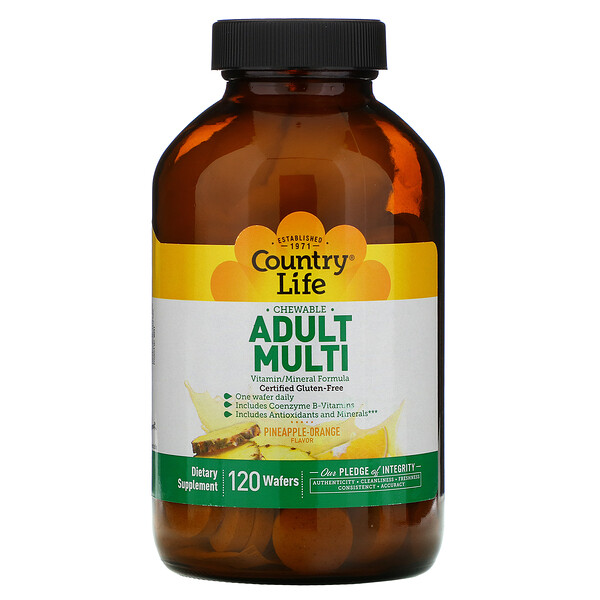 Country Life, Chewable Adult Multi, Pineapple-Orange, 120 Wafers