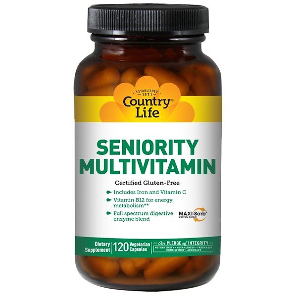 Country Life, Мультивитамины для лиц старшего возраста, 120 растительных капсул