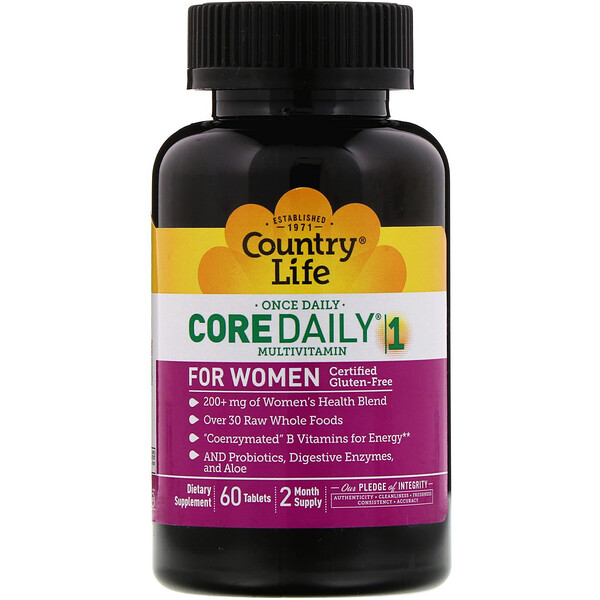 Country Life, Core Daily-1 Multivitamin for Women, 60 Tablets