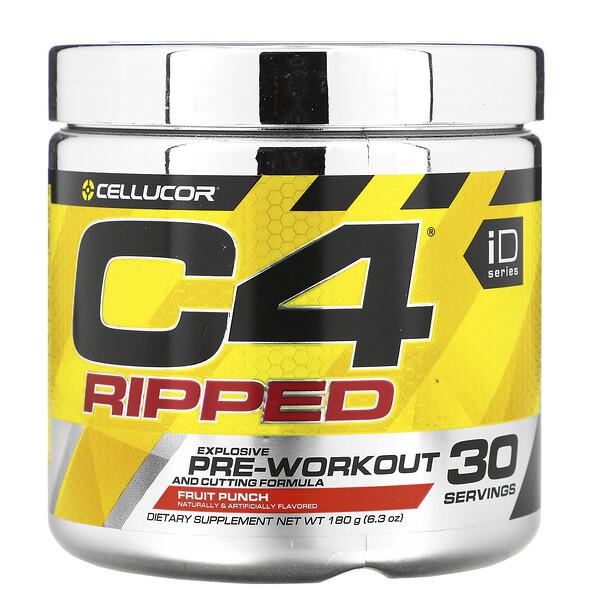 C4 Ripped, Pre-Workout, со вкусом фруктового пунша, 180 г (6,34 унции)