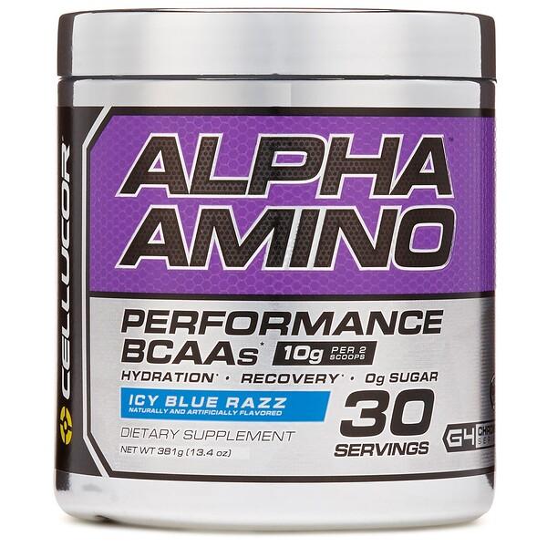 Alpha Amino, BCAA для улучшения результатов, льдисто-голубая вспышка, 381 г (13,4 унции)