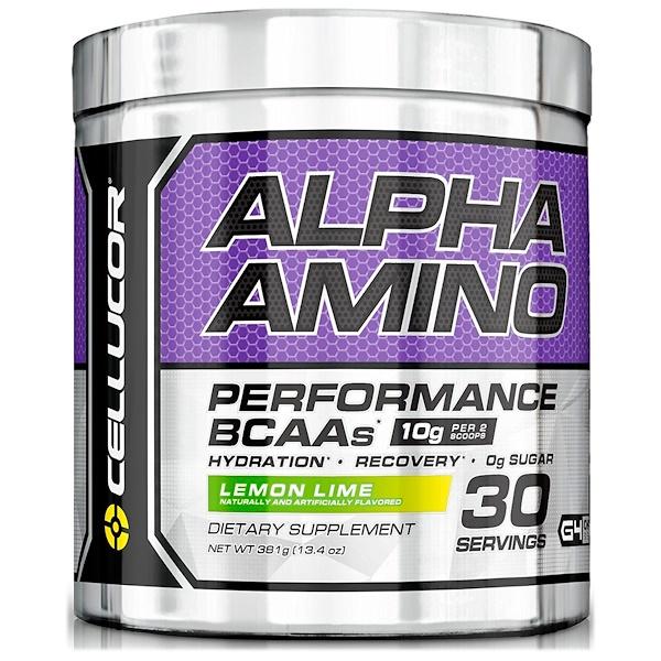 Alpha Amino. Активность аминокислот с разветвленной цепью, лимон-лайм, 13.4 унций (381 г)