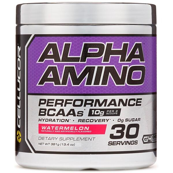 Alpha Amino, аминокислоты с разветвленной цепью для эффективности тренировок, арбуз, 13,4 унции (381 г)