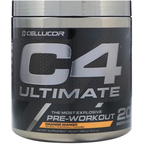 C4 Ultimate, Предтренировочная формула, Апельсин и манго, 13,4 унц. (380 г)