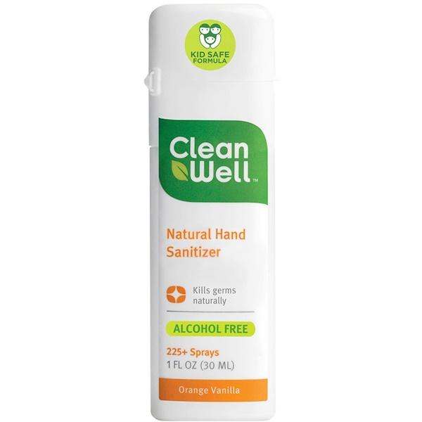 CleanWell, Дезинфицирующее средства для рук, без спирта, апельсин и ваниль, 30 мл (Discontinued Item)