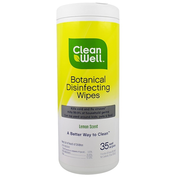 CleanWell, Дезинфицирующие влажные салфетки с растительным компонентом, лимонный аромат, 35 влажных салфеток, 7 х 8 в (117. см х 20,3 см) (Discontinued Item)