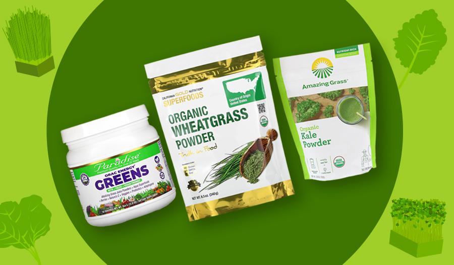 Greens powder, wheatgrass powder, kale powder supplements