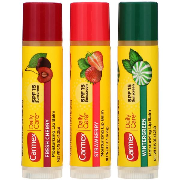 Бальзам для губ для ежедневного ухода, SPF 15, ассорти, 3 упаковки, 0,15 унции (4,25 г) каждая