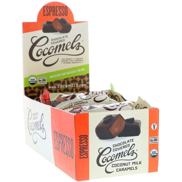 Органические покрытые шоколадом карамельные конфеты с кокосовым молоком, эспрессо, 15 штук по 1 унц. (28 г) каждая