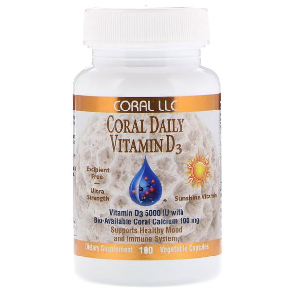 CORAL LLC, Coral Daily Vitamin D3, 5,000 IU, 100 Vegetable Capsules (Discontinued Item)