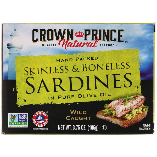 Сардины, очищенные от костей и кожи в чистом оливковом масле 3,75 унц. (106 г)