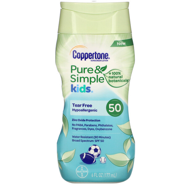 Kids, Pure & Simple, Sunscreen Lotion, SPF 50, 6 fl oz (177 ml)