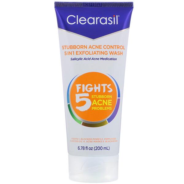 Stubborn Acne Control, 5-in-1 Exfoliating Wash,  6.78 fl oz (200 ml)