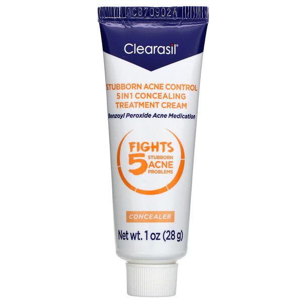 Stubborn Acne Control, 5-in-1 Concealing Treatment Cream, 1 oz (28 g)
