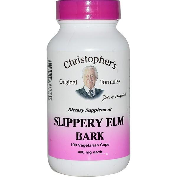 Christopher's Original Formulas, Slippery Elm Bark, 400 mg, 100 Vegetarian Caps