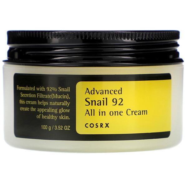 """Cosrx, улучшенная формула Snail 92, высокоэффективный крем """"все в одном"""" на основе секреции улиток, 100 мл"""