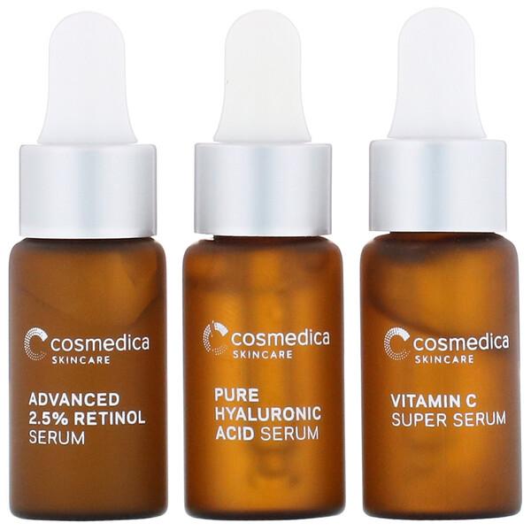 Cosmedica Skincare, Essential Serum Minis, набор миниатюр сывороток, комплект из 3предметов (Discontinued Item)