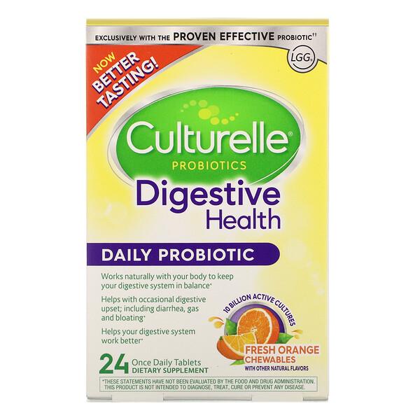Culturelle, Probiotics, Digestive Health, Daily Probiotic, Fresh Orange Chewables, 24 Once Daily Tablets