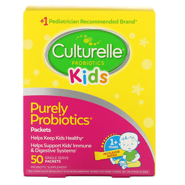 Kids, Purely Probiotics,  1+ Years, Unflavored, 50 Single Serve Packets