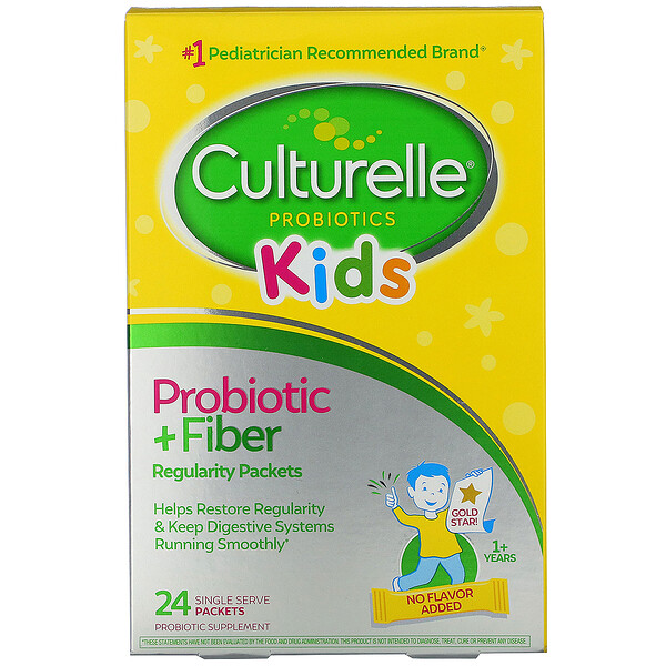 Kids,  Probiotic + Fiber, Regularity, 1+ Years, 24 Single Serve Packets
