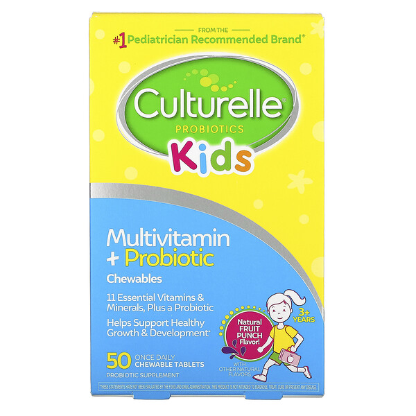 Culturelle, Kids, Probiotics, Multivitamin + Probiotic, 3+ Years, Natural Fruit Punch, 50 Chewable Tablets