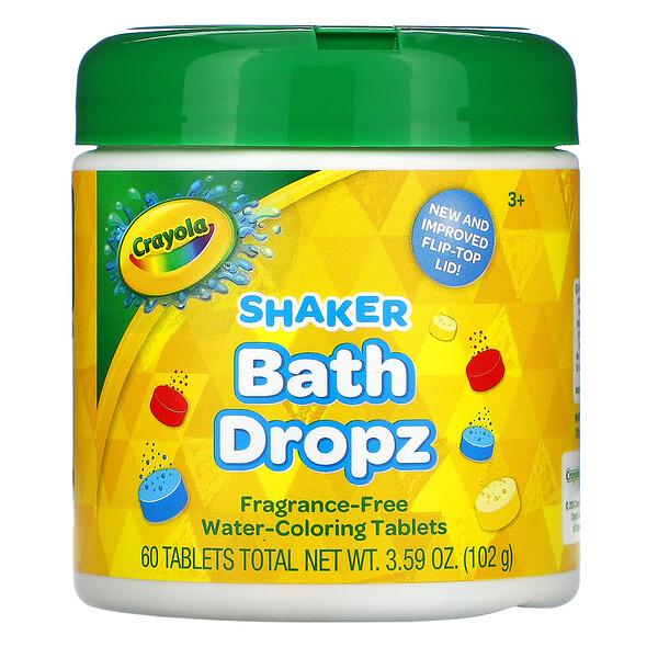 Crayola, Shaker Bath Dropz, 3+, Fragrance-Free, 60 Tablets, 3.59 oz (102 g)